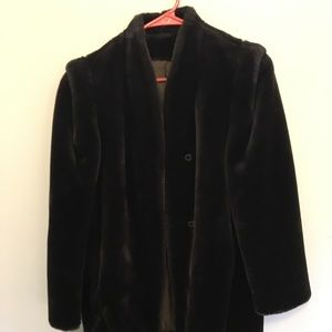 Chocolate brown faux fur coat vintage